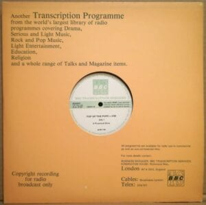 4254 - Eurythmics - Top Of The Pops - Show 1138 - The UK - LP - 156848-S