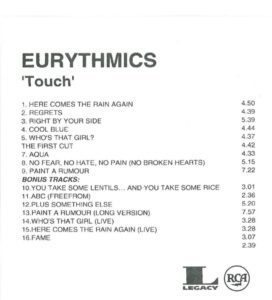 4419 - Eurythmics - Touch - Remaster - The USA - Promo CD - None