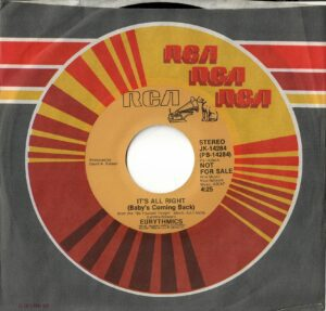 """0569 - Eurythmics - It's Alright (Baby's Coming Back) - The USA - Promo 7"""" Single - JK-14284"""