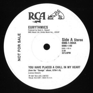 """0924 - Eurythmics - You Have Placed A Chill In My Heart - The USA - Promo 12"""" Single - 6986-1-RD"""
