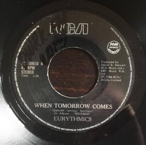 """1565 - Eurythmics - When Tomorrow Comes - The Philippines - 7"""" Single - RCS-30010"""