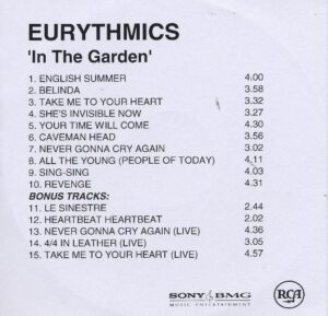 2392 - Eurythmics - In The Garden - Remaster - The UK - Promo CD - CDR