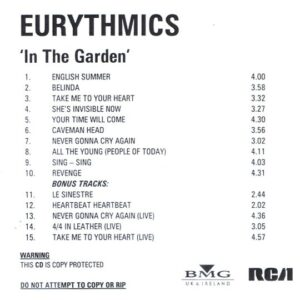 2393 - Eurythmics - In The Garden - Remaster - The UK - Promo CD - CDR