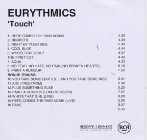 2394 - Eurythmics - Touch - Remaster - The UK - Promo CD - CDR