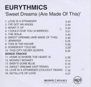 2396 - Eurythmics - Sweet Dreams (Are Made Of This) - Remaster - The UK - Promo CD - CDR