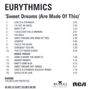 2397 - Eurythmics - Sweet Dreams (Are Made Of This) - Remaster - The UK - Promo CD - CDR