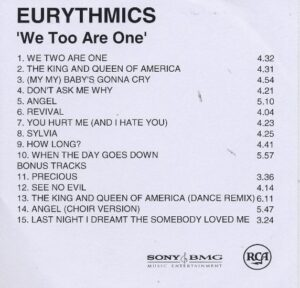 2402 - Eurythmics - We Too Are One - Remaster - The UK - Promo CD - CDR