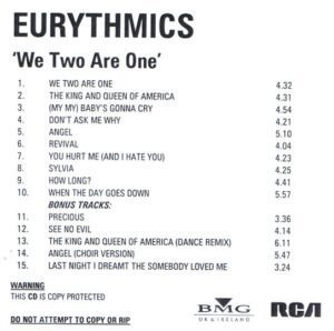 2403 - Eurythmics - We Too Are One - Remaster - The UK - Promo CD - CDR