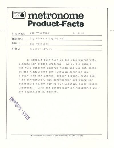 1979-10-01 – The Tourists – Reality Effect from  Germany ID: 3136