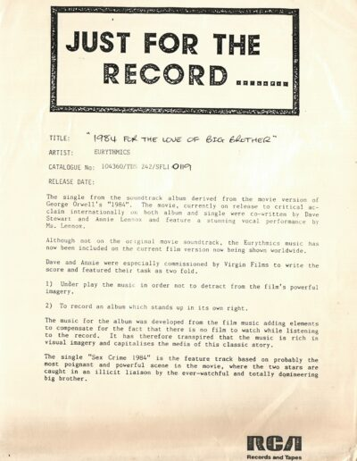 1984-11-01 – Eurythmics – 1984 (For The Love Of Big Brother) from  Australia ID: 3165
