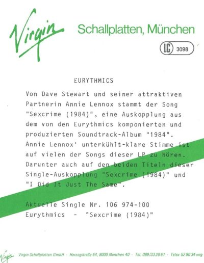 1984-10-01 – Eurythmics – Sexcrime (Nineteen eighty four) from  Germany ID: 3148