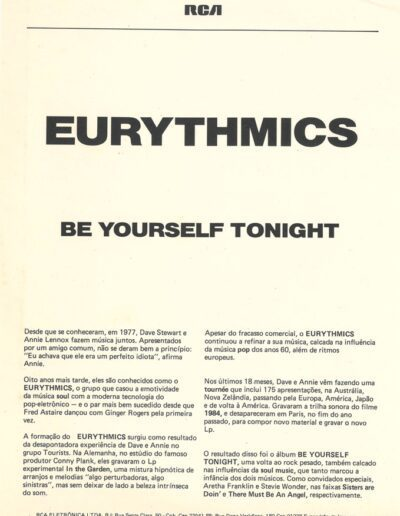 1985-04-01 – Eurythmics – Be Yourself Tonight from  Brazil ID: 3154