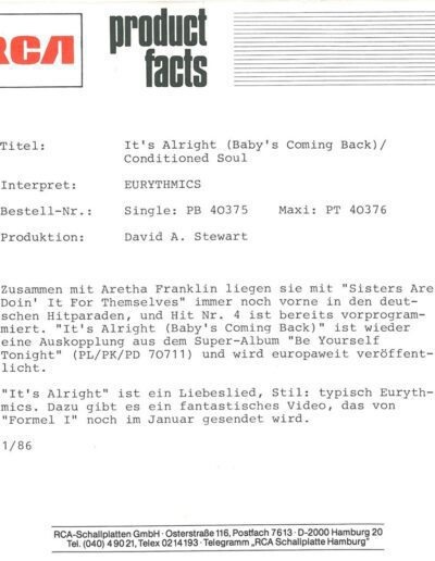 1986-01-01 – Eurythmics – It's Alright (Baby's Coming Back) from  Germany ID: 3149