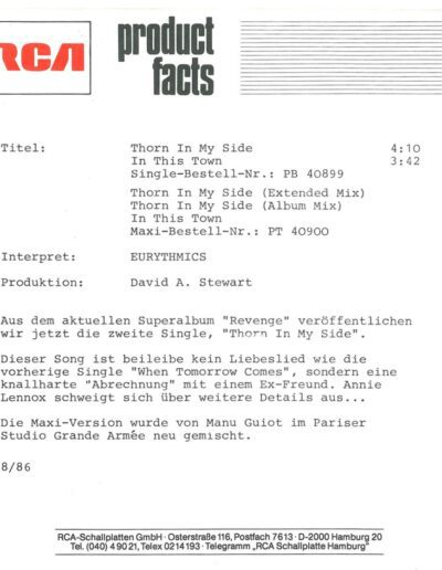 1986-08-01 – Eurythmics – Thorn In My Side from  Germany ID: 3125