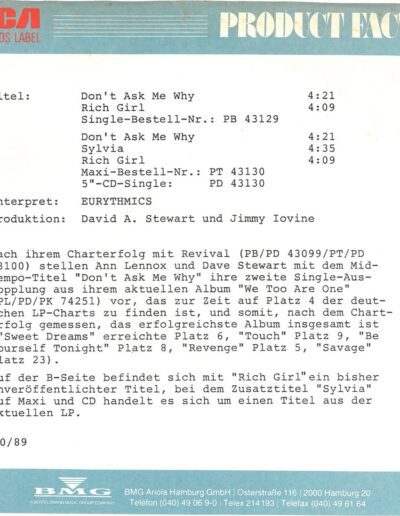 1989-10-01 – Eurythmics – Don't Ask Me Why from  Germany ID: 3147