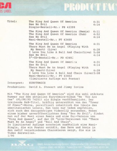 1990-01-01 – Eurythmics – The King & Queen Of America from  Germany ID: 3151