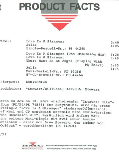 1991-02-01 – Eurythmics – Love Is A Stranger 91 from  Germany ID: 3144