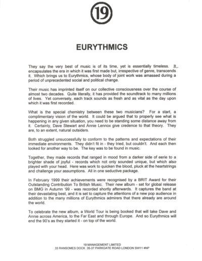 1999-08-01 – Eurythmics – Peace from The UK ID: 3113