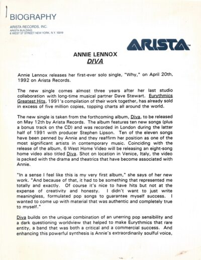 1992-05-01 – Annie Lennox – Diva Press Release 2 from The USA ID: 3075