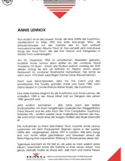 1992-03-01 – Annie Lennox – Diva Press Release from  Germany ID: 3081