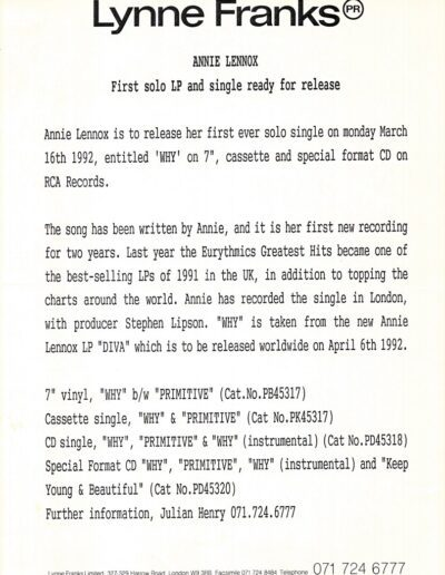 1992-04-01 – Annie Lennox – Diva Press Release from The UK ID: 3077