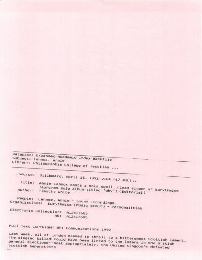 1992-04-25 – Annie Lennox – Why – Press Release from The USA ID: 3088