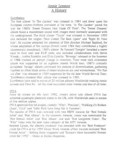 1995-10-01 – Annie Lennox – Annie Lennox Biography from The UK ID: 3083