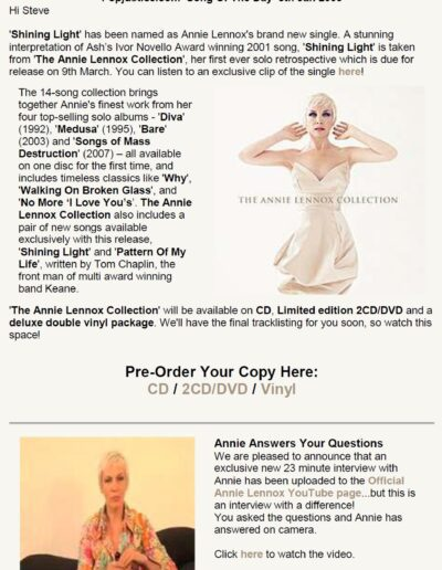 2008-09-01 – Annie Lennox – The Annie Lennox Collection – Email from The UK ID: 3100