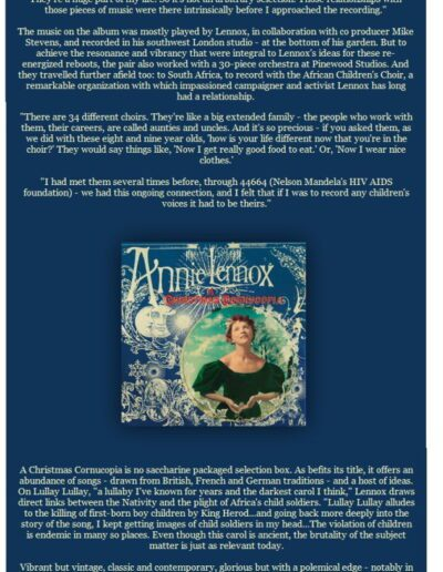 2010-11-01 – Annie Lennox – A Christmas Cornucopia Email Campaign from The UK ID: 3101
