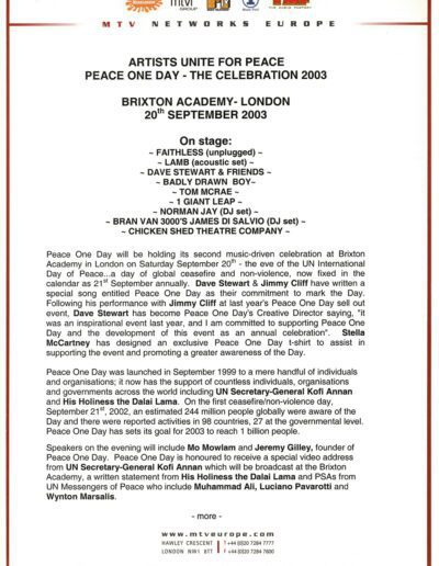 2003-05-01 – Dave Stewart – Peace One Day 2003 from The UK ID: 3074