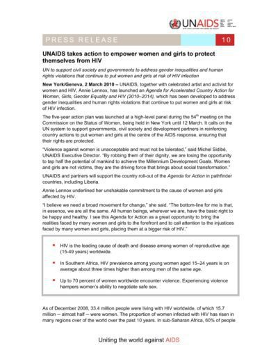 2010-03-02 – Annie Lennox – UNAIDS takes action to empower women from The USA ID: 3228