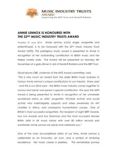2013-06-27 – Annie Lennox – Music Industry Trusts Award 2013 from The UK ID: 3232