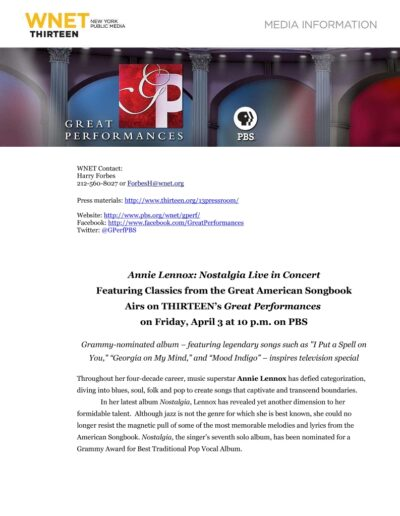2015-03-01 – Annie Lennox – An Evening Of Nostalgia from The USA ID: 3236