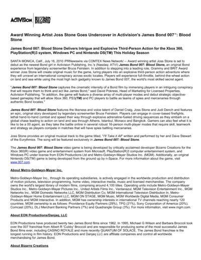 2010-07-16 – Dave Stewart – Activision James Bond 007 Blood Stone from The USA ID: 3229