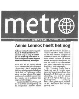 2003-06-04 - Annie Lennox - Metro from The Netherlands ID: 2327