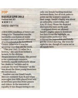 2012-03-12 - Annie Lennox - Evening Standard from The UK ID: 2784