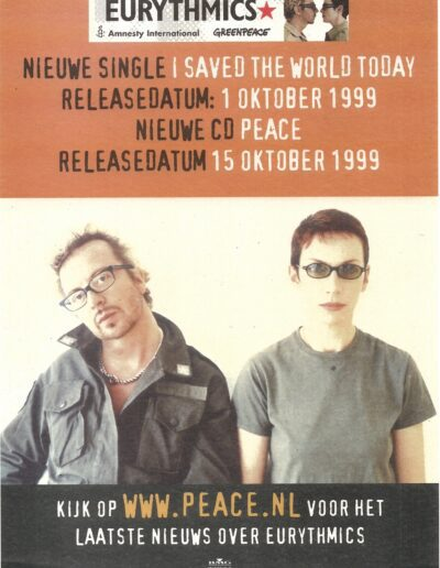 1999-10-01 – Eurythmics – I Saved The World Today from The Netherlands ID: 3248
