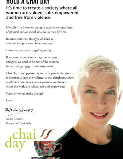 2016-11-25 – Annie Lennox – The Circle – Hold A Chai Day from The UK ID: 3259