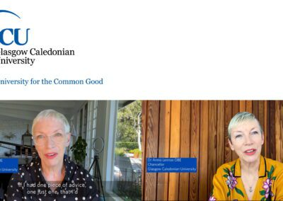 Chancellor Annie Lennox speaks to the students of Glasgow Caledonian University as the class of 2021 graduates