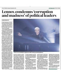 2019-09-28 - Annie Lennox - The Scotsman from The UK ID: 2671